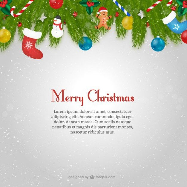Christmas card template with text Vector | Free Download
