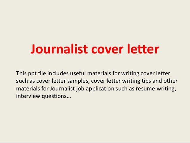 journalism cover letter