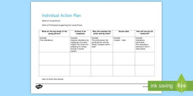 Individual Action Plan Young People & Families Case File