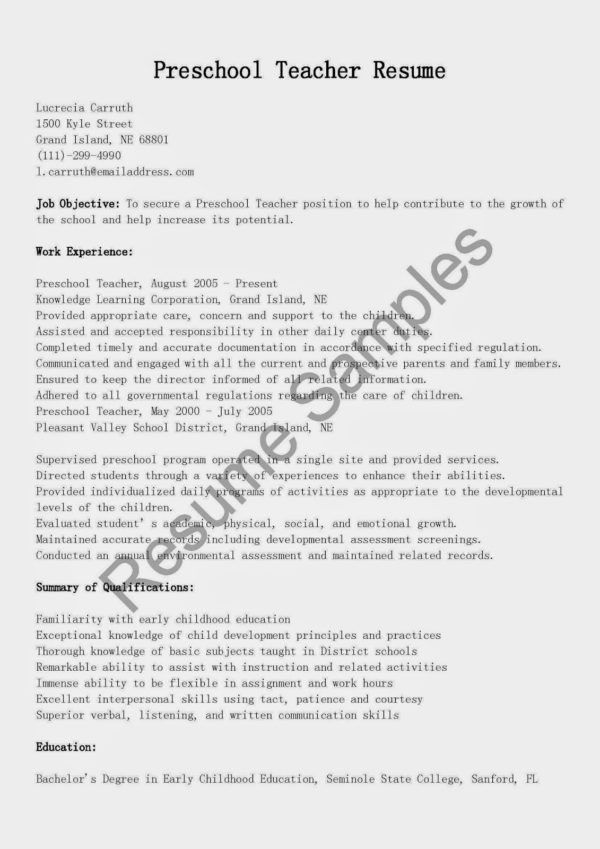 Perfect Preschool and Kindergarten Teacher Resume Format Sample ...