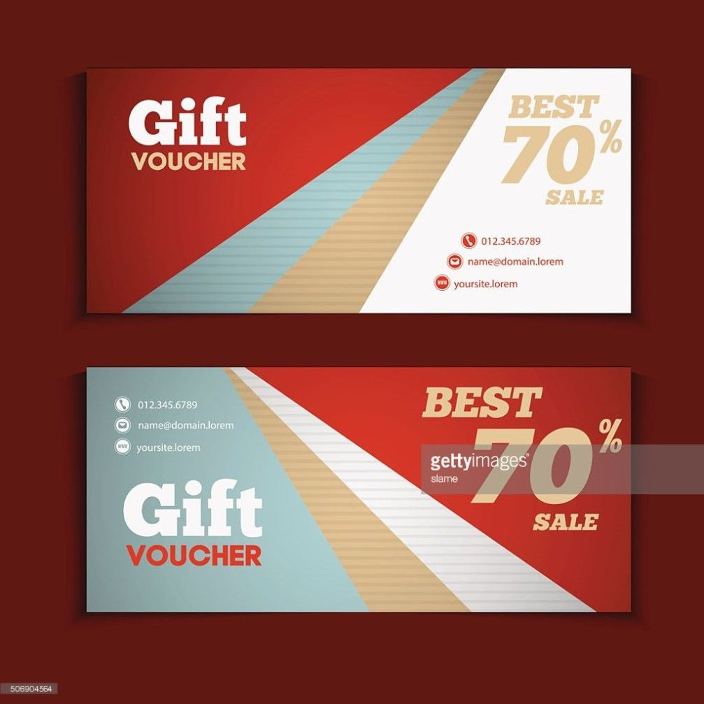 Two Coupon Voucher Design Gift Voucher Template With Amount Of ...