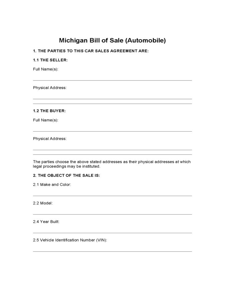 Automobile Bill of Sale Form - Michigan Free Download