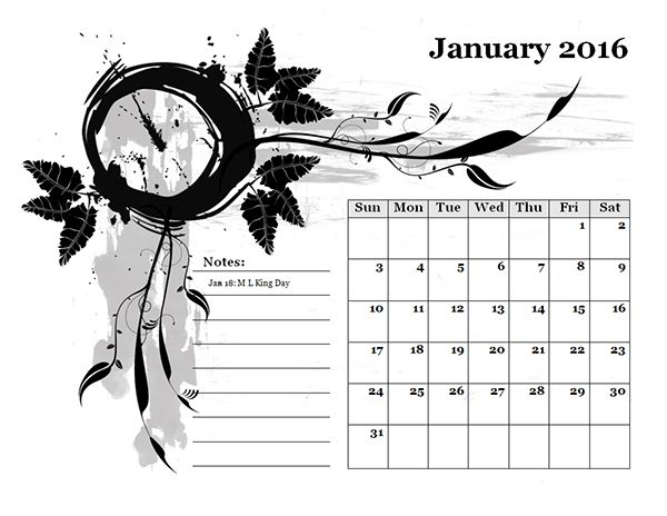 2016 Monthly Calendar Template 17 - Free Printable Templates