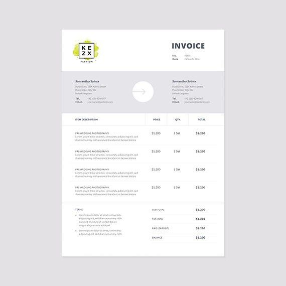 Clean and Modern Invoice Template Instant Download Receipt