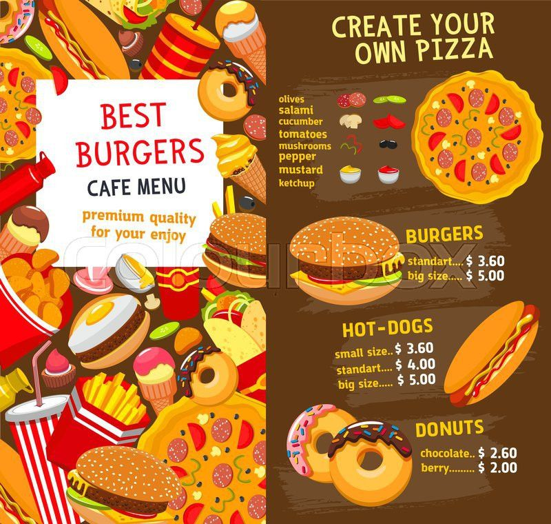 Fast food restaurant burgers and sandwiches menu template. Vector ...