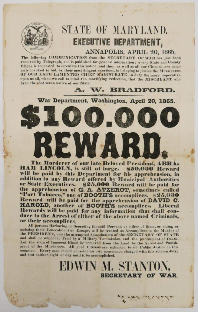 MBA Seattle to auction rare 1865 Lincoln assassination reward poster