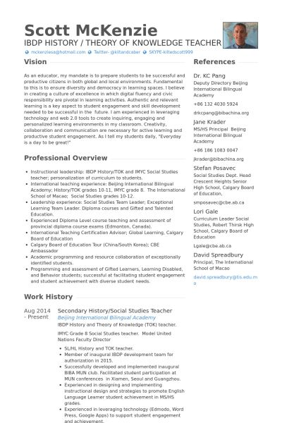 Social Studies Teacher Resume samples - VisualCV resume samples ...