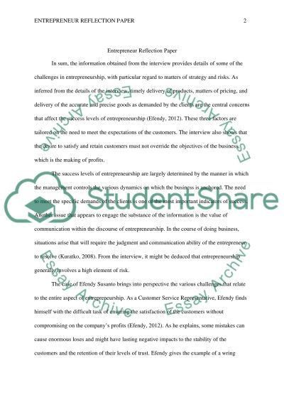 Entrepreneur Reflection Paper Research Example | Topics and Well ...