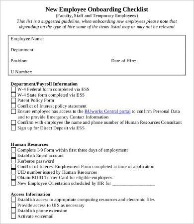 New Employee Checklist Template - Free Word, PDF Documents ...