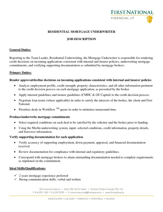 Excellent and Effective Sample Resumes Mortgage Underwriter ...