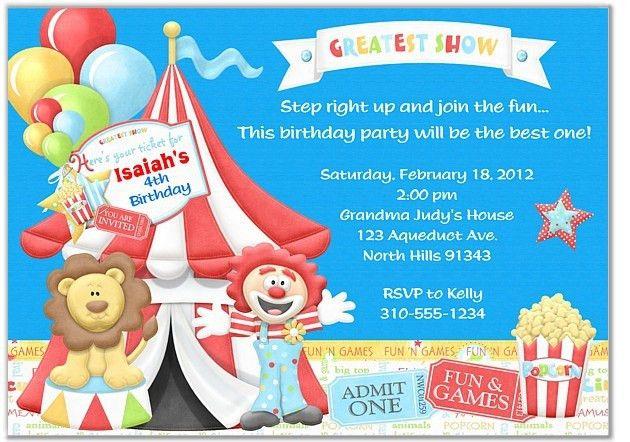 Circus Birthday Invitations | badbrya.com