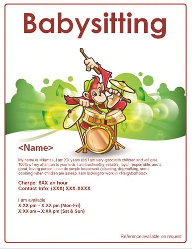 Monkey Playing Music Babysitter Flyer Template | Babysitting ...