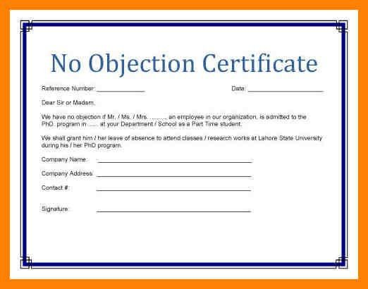 Stunning No Objection Certificate Sample Gallery - Best Resume ...