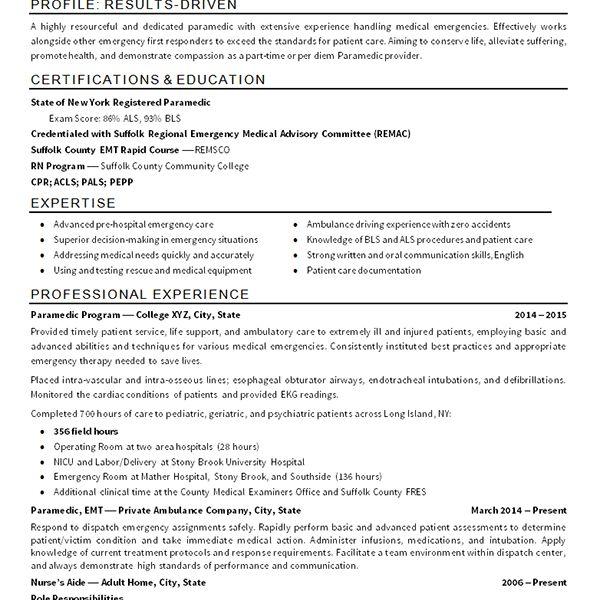 Emt Resume Emt Paramedic Resume Example, Download Emt Resume
