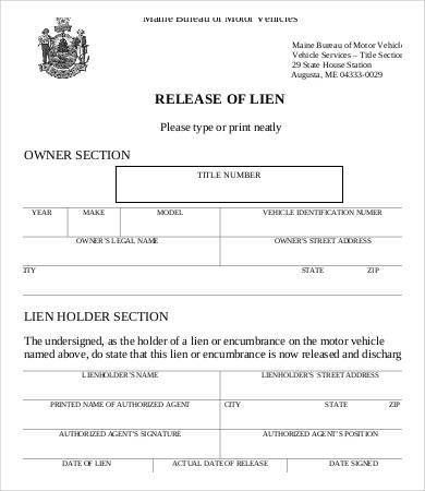 Lien Release Form - 8+ Free Word, PDF Documents Download | Free ...