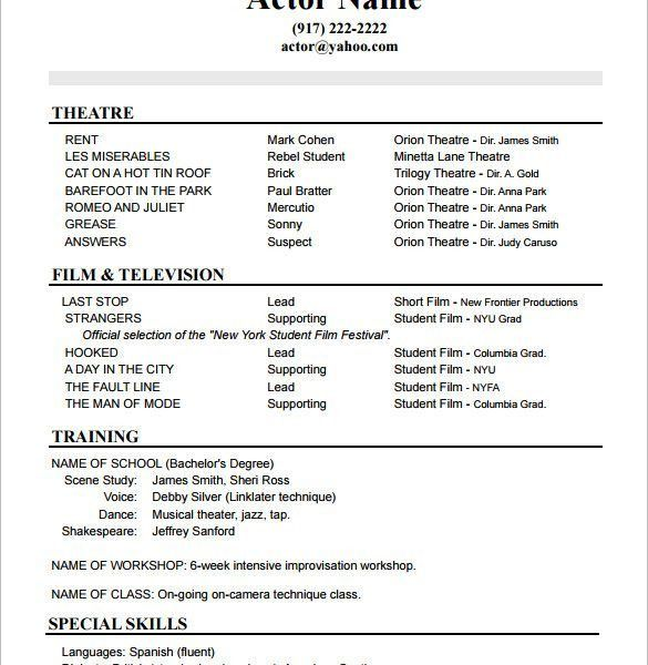 Lofty Design Ideas Sample Acting Resume 7 10 Acting Resume ...
