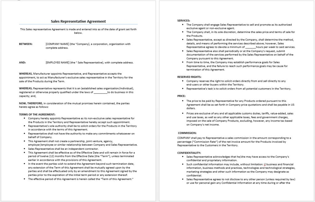 Sales Representative Agreement Template | Microsoft Word Templates