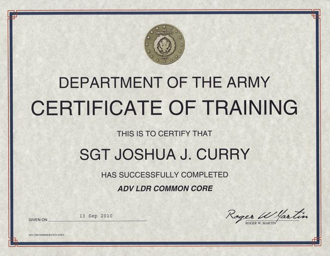 Army Certificate of Training