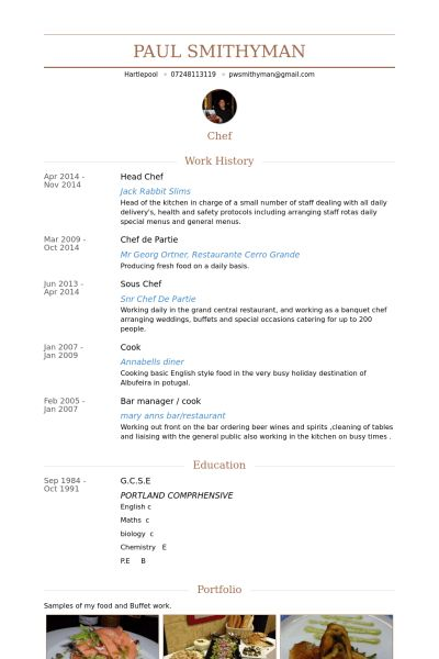 Head Chef Resume samples - VisualCV resume samples database