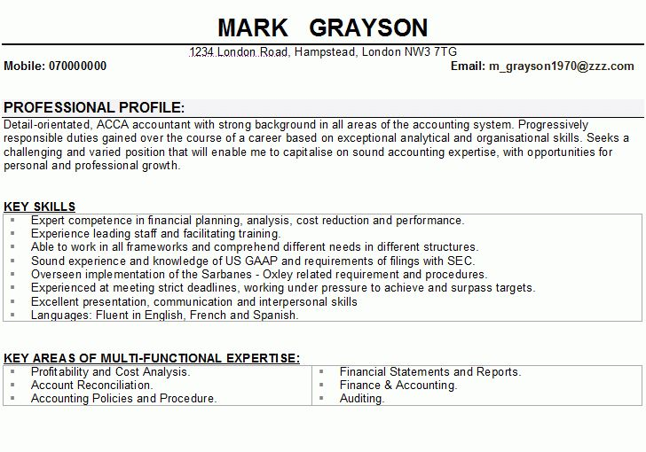Resume Example For An Accountant - Templates