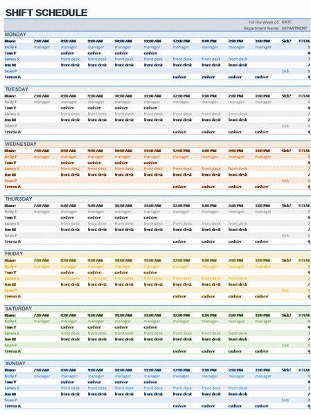 Download Weekly Employee Shift Schedule Excel Template Employee