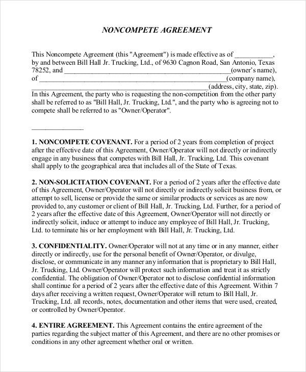 10+ Simple Non-Compete Agreement Templates - Free Sample, Example ...