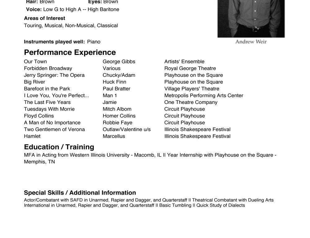 audition resume template acting resume template daily actor