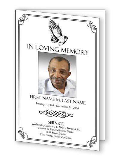 Funeral Program Templates | Funeral Programs | Praying Hands Program