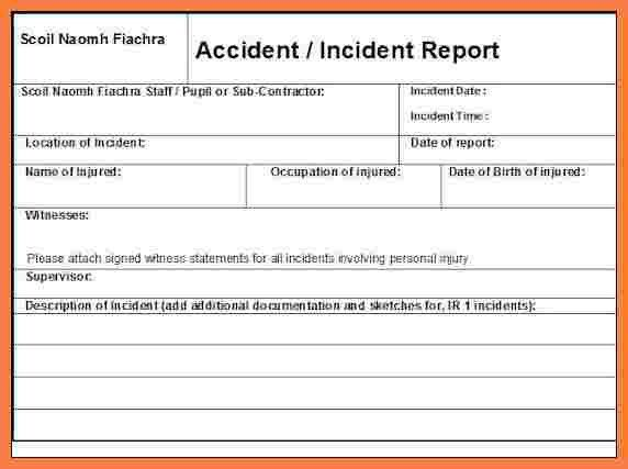 4+ construction accident report form template | Progress Report