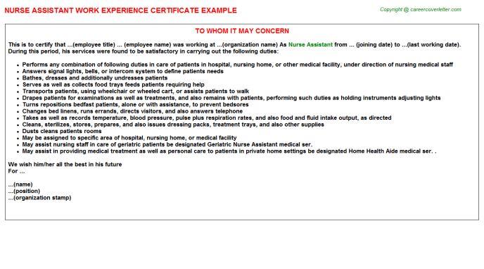 Nurse Assistant Work Experience Certificate