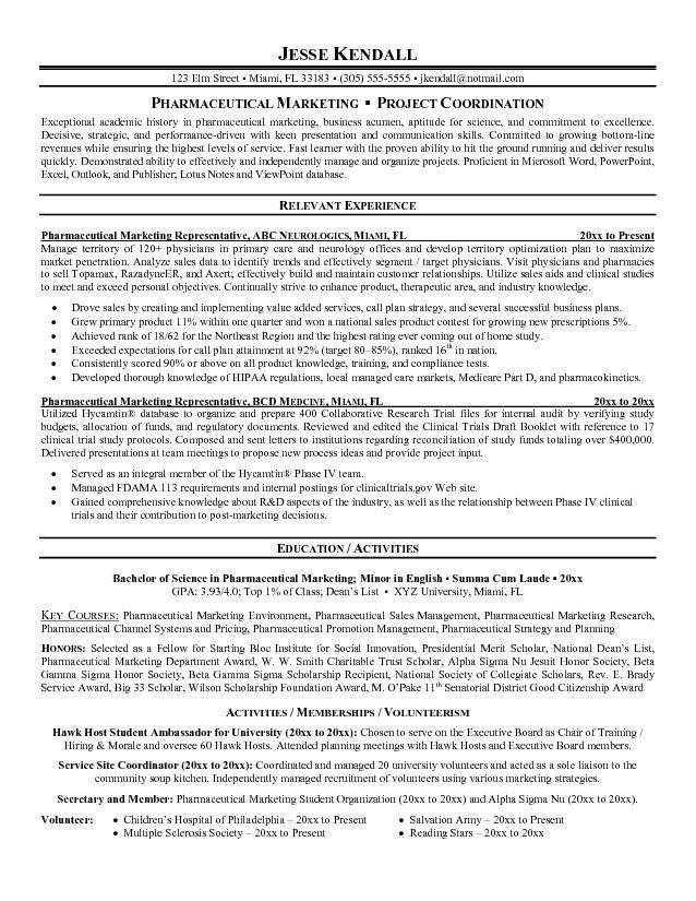 Sample Pharmaceutical Sales Resume   jennywashere.com