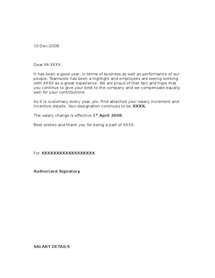 Sample Salary Increment Letter From Employer Free Download