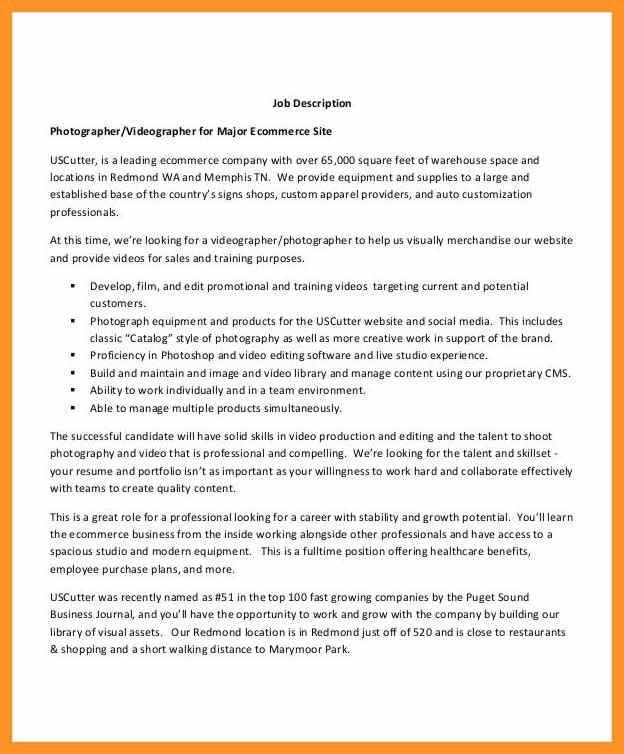 photographer job description resume | bio letter format