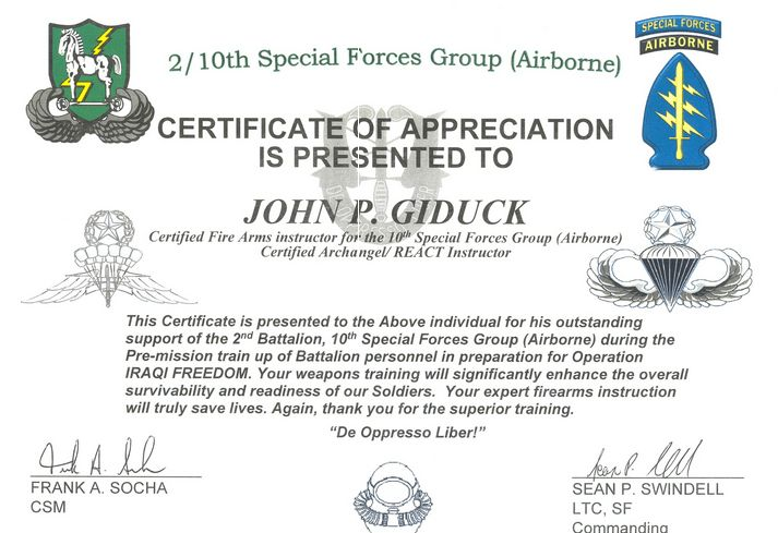 John Giduck And His Legendary Special Forces Certificate of ...