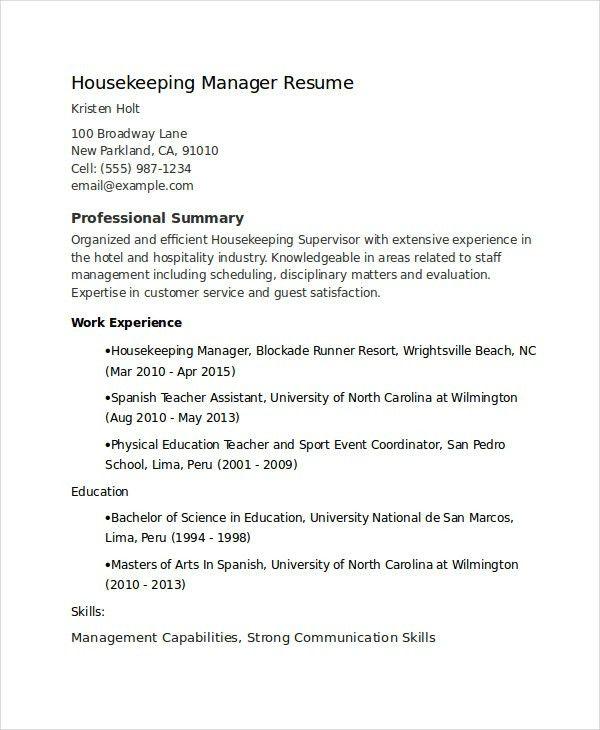 Housekeeping Supervisor Resume Template | | thehawaiianportal.com