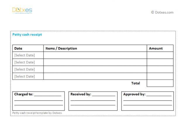 Petty Cash Receipt Template (Multiple Payments) : Selimtd