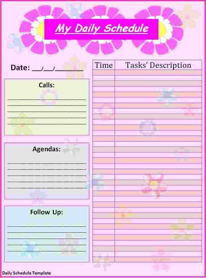 5+ free daily calendar template | Ganttchart Template