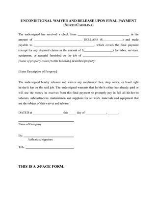Lien Release Form. North Carolina Lien Release Forms | Legal Forms ...