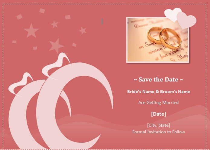 Wedding Save the Date Card Invitation Template