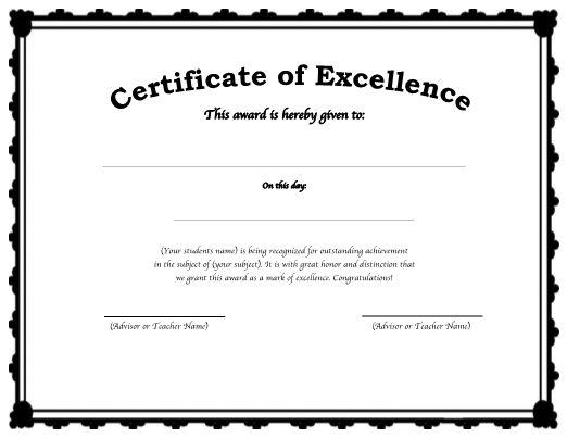 Editable Award or Certificate Template