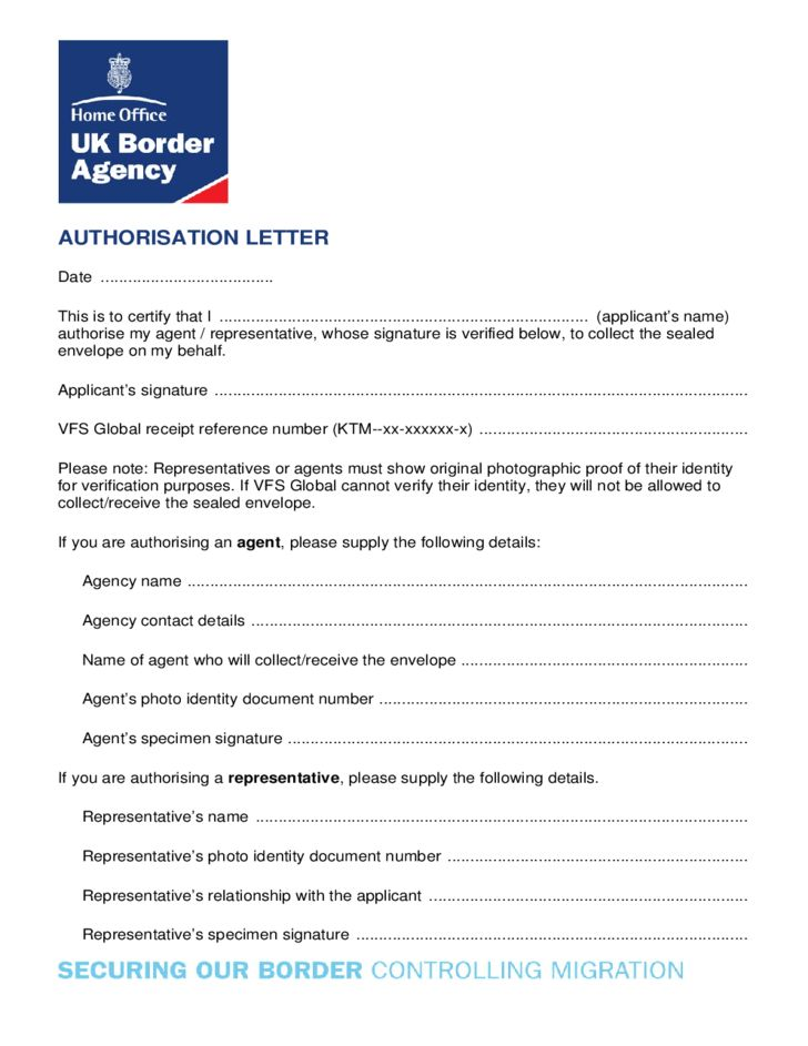 Collect Envelope Authorization Letter Free Download