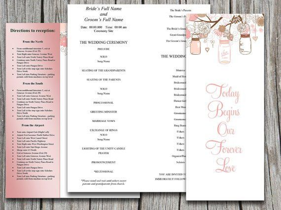 Half Fold Wedding Program Template Microsoft Word - Love Birds ...