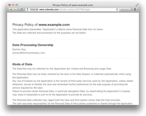 iubenda generates fast, easy, simple privacy policies