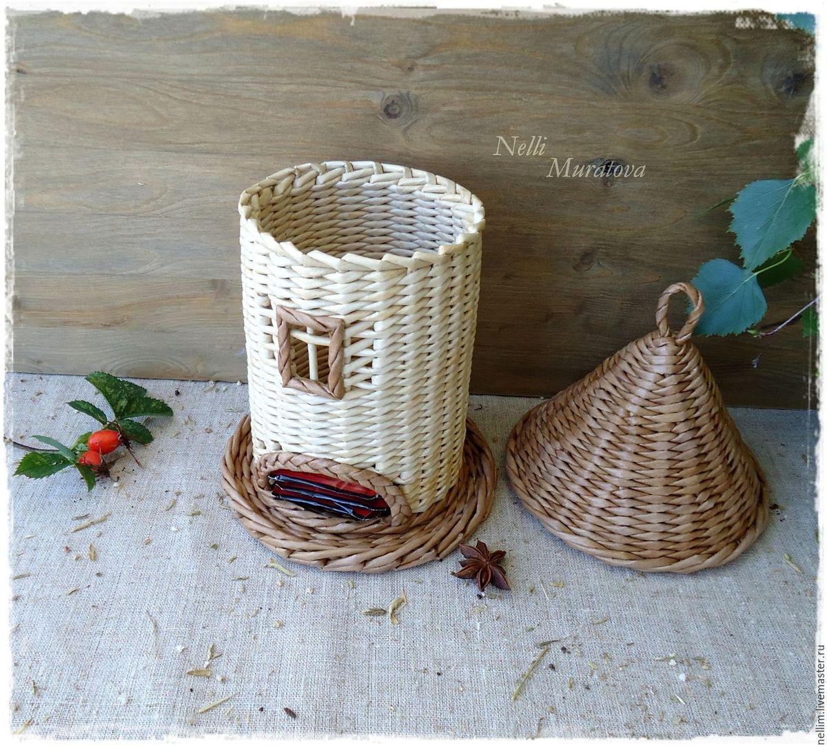 Поделка изделие Плетение Чайный домик Плетение из газет 53
