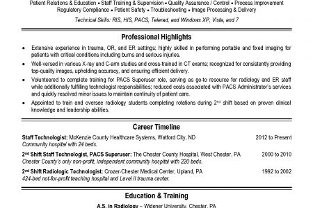 Mammography Technologist Resume - Reentrycorps