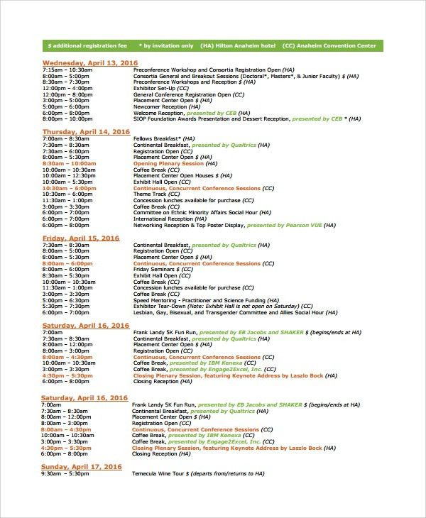 Sample Event Timetable Template - 6+ Free Documents Download in ...