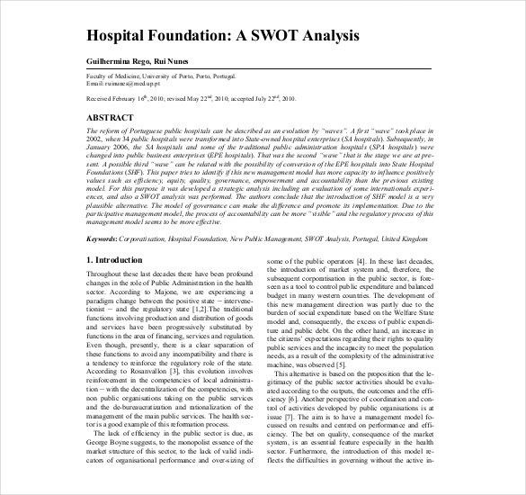 8+ Hospital SWOT Analysis Templates – Free Sample, Example, Format ...