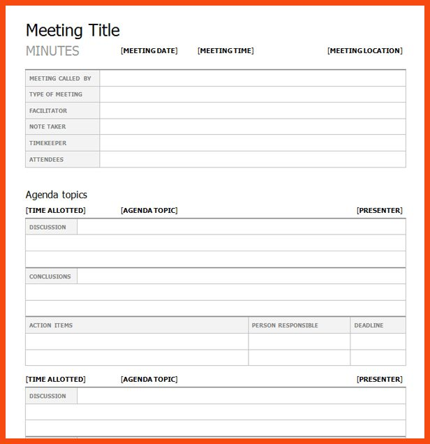 minutes meeting template | program format