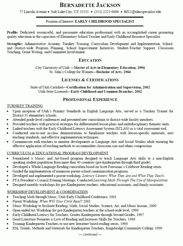 Early Childhood Education Resume Samples | Free Resumes Tips