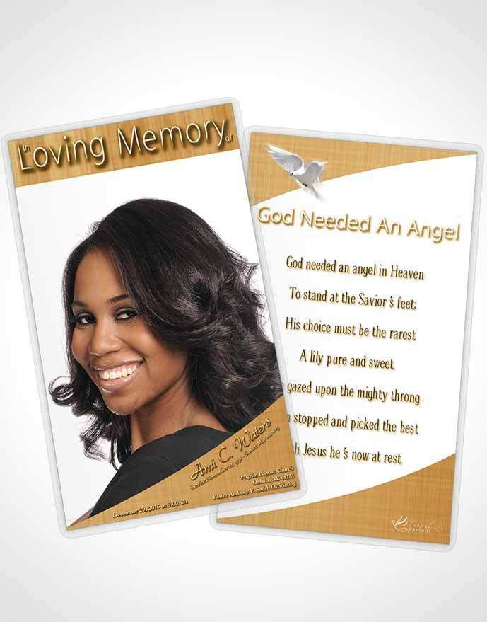 Bifold Order of Service Obituary Template Brochure Golden Simplicity